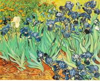 Нарисованные натюрморт Ирисы, Чистая Ручная роспись Современный декор стен Винсент Ван Гог пейзаж Картина маслом Картина качества Canvas.Multi размеры VG009