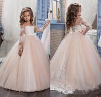2017 Romantic Champagne Puffy Flower Girl Dresses for Weddin...