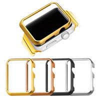 4 pièces Apple Watch Metal Case 38MM / 42MM Gold / Black Gun plaqué / en acier inoxydable Housse de protection pour pare-chocs pour iWatch Series 1/2