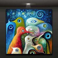 Рамка Красочная Птицы Живопись, Чистый Handpainted Современная Абстрактная Граффити Живопись Живопись маслом На Высоком качестве Canvas размер может настроен