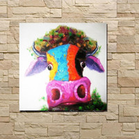 Красочные коровы Голова, чисто Ручная роспись Картина Современный дом Декор стены мультфильм животных картина маслом Canvas.Multi размеры бесплатная доставка C048