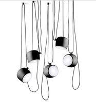 Светодиодные лампы Алюминиевый Flos Цель белый / черный E27 подвесной светильник Светодиодные лампы растут огни Бар Гостиная Droplight Освещение Люстра LLFA