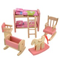 Wooden Doll Bunk Bed Set Furniture Dollhouse Miniature For K...
