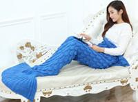 Mermaid Blanket Yarn Knitted Mermaid Tail Blanket Handmade C...