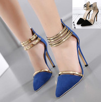 Rome style gold strap stiletto heels pointed toe pumps sexy ...