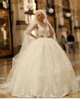 Роскошь 2017 года Новые свадебные платья Backless бусины 3D-цветочные Аппликация Кружева Свадебные платья V декольте Плюс размер бальное платье свадебное платье