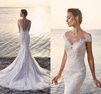 2017 Berta Sexy Luxury Illusion Back Lace Applique Mermaid W...
