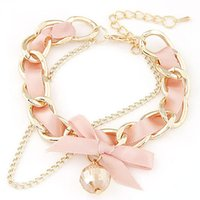 Fashion Crystal Bracelet for Women Ribbon Bow Gold Color Cha...