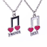 10 Set Lot Best Friends Music Notes Style 2- Piece Pendant Ne...