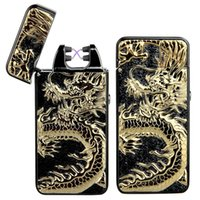 2017 New Dragon Embossed Double Arc Cigarette Lighter USB Ch...