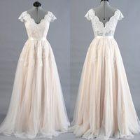 Modern Real Photos Champagne A- Line Cheap Wedding Dresses Cu...