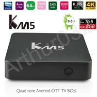 KM5 Caixa de TV Inteligente Android 6.0 Amlogic S905X Quad Core 1G + 8G WIFI Estável 4K H.265 IPTV Media Player Conjunto Top Box VS X96