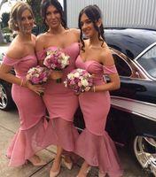 Новый дизайн Нигерии Розовые платья невесты 2017 года с плеча Mermaid Высокая Низкая Формальное горничной честь гостей свадьбы партии халатах Дешевые Пользовательские