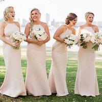 Elegant Mermaid Long Bridesmaid Dresses Spaghetti Straps Lac...
