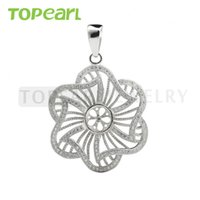 9PM167 Bijoux Teboer 3pcs / LOT Big Pendentif Découvertes en blanc Zircon Studded 925 Sterling Silver Semi Mounts