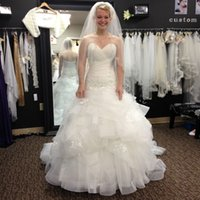 Real Photos Mermaid Wedding Dresses Organza Pleat Lace Bride...