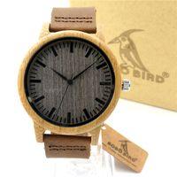 Montres pour hommes Nouveau Classique Brown Black Cover Bambou Montre en bois Japonais 2035 Mouvement Authentic Leather Casual Montres-bracelets