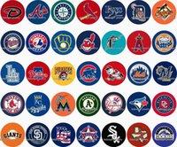 Free shipping MLB Baseball 35pcs   lot glass snap button jew...