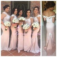 Pink V- neck Mermaid Long Brides Maid Dress to Party Custom M...