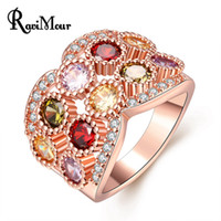New Brand Rose Gold Color Rings for Women Multicolor CZ Zirc...