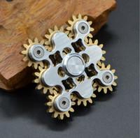 Engranaje Spinner de la mano 9 engranaje Fidget Spinner del metal Rueda del acoplamiento de Steampunk rueda del dedo Gyro de la descompresión juguetes de la ansiedad OOA1527