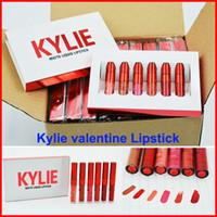 На складе Новый набор Дженнер губ Валентина издание LipGloss красивые 6шт комплект KYLIE Матовый Liquid Valentine Gift Бесплатная доставка DHL