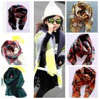 Дети пледом шарфы Шотландка кисточки шарф способа зимы шали Сетка Cozy Wrap Check Soft пашмины кашемира Lattice Neckerchief KKA974