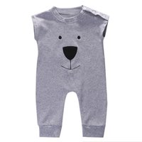 Summer Cute Toddler Baby Girl Boy Bear Jumpers Rompers Cotto...