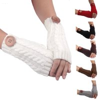 Winter Buttons Knitting Gloves Fashion Woman Fingerless Glov...