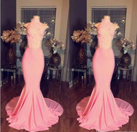 Novo Design High-Neck Mermaid mangas Longo Soft Pink Lace Prom Dresses 2017 Ver por Custom Made Vestidos de noite