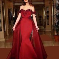 Темно-красный с плеча Mermaid Вечерние платья 2017 новое прибытие Lace Аппликация Милая молния назад Пром платья с более чем Юбки