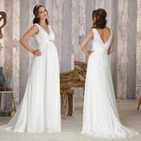 2017 Lace Plus Size Pregant Beach Maternity Wedding Dresses ...