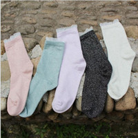 Lace Funny Colorful Glitter Women Socks Cotton Autumn Winter...