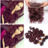 Wine Red 360 Full Lace Frontal Closure With Weaves Body Wave...