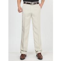 Оптовые- Мужчины летние льняные брюки мужские свободные высокой талией прямой моды случайные брюки мужчины тонкие брюки