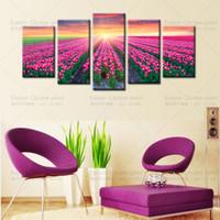 5 шт (без рамки) Современное искусство Закат и фиолетовый тюльпан Home Wall Decor Холст Картина HD Картина на холсте на холсте