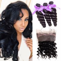 9A Pre Plucked 360 Full Lace Band Frontal Closure With Bundl...