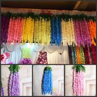120CM Long Elegant Artificial Silk Flower Wisteria Vine Ratt...