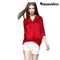 Women Asymmetrical silk T- shirt 2017 new summer women clothi...
