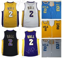 2017 NWT 2 Lonzo Ball Jersey UCLA Bruins Basketball Lonzo Ball College Maillots Sports Broderie Team Couleur Violet Noir Blanc Jaune Chaud