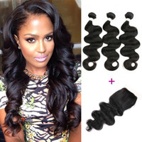 3 Bundles Peruvian Virgin Hair Body Wave with Lace Closure N...