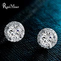 RAVIMOUR Copper Earrings for Women Round Cubic Zircon Stud E...