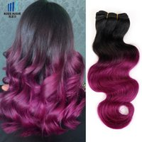 300g Ombre Human Hair Bundles T 1B Rose Red Two Tone Colored...