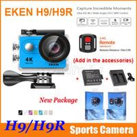 Appareil photo original EKEN H9 H9R télécommande Ultra HD 4K WiFi HDMI 1080p 2.0 LCD 170D pro Sports imperméable + batterie supplémentaire + chargeur de station d'accueil
