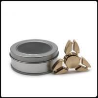 Cuprum de alta calidad HandSpinner Puntas de los dedos Dedos en espiral Juguetes de cobre de giro Cojinetes de metal Spinner de mano con caja de regalo