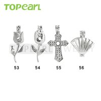 WG32 Teboer Jewelry 20pcs Vente en gros Lockets Mixed Rose Flower Cross Pendentifs en forme de coquille Wish Cage