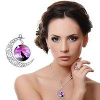Fashion Jewelery Moon Time Gemstone Necklace Wolf Totem Retr...