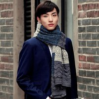 Wholesale- High Quality Men Scarf Winter Knit Scarf Patchwork...