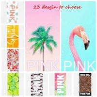 Pink Beach BathTowel 70 * 140cm Thin Pink Lettre Serviettes de plage Sports Serviette de bain VS Serviette de bain Leopard Flower flamingos serviettes de salle de bains KKA1434