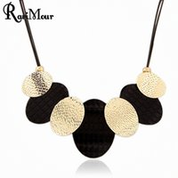 Collier Femme Punk Black Gold Plated Oval Statement Necklace...